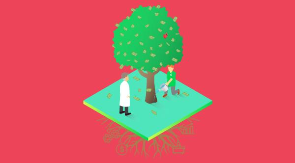 Doctor and Greenway Health associate tending to a growing tree together. Illustration.